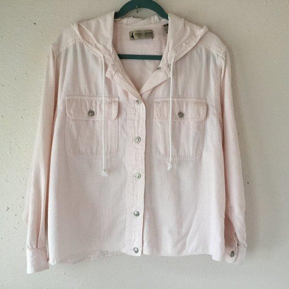 Marsh Landing Vintage Pink Striped Hooded Shirt